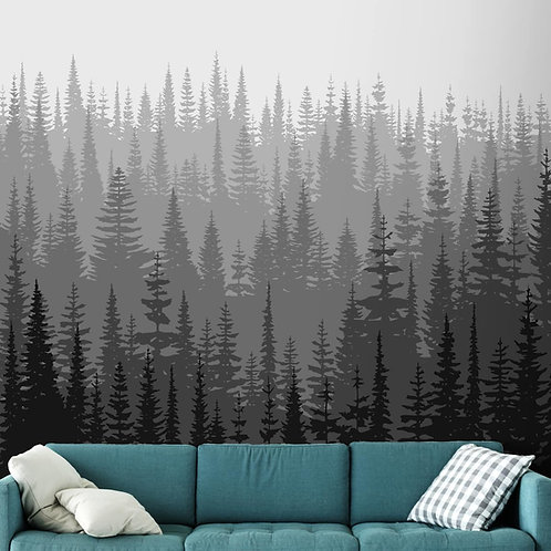Black and White Mountain Trees Wallpapers, Customised