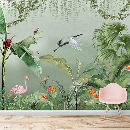 Tropical jungle and birds wall murals
