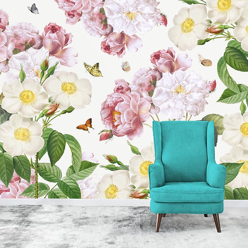 Pastel floral wall mural