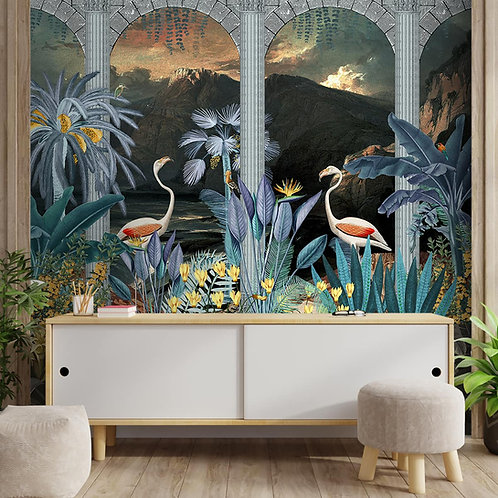 Tropical Theme Wallpaper Design with Flamingoes, Customised