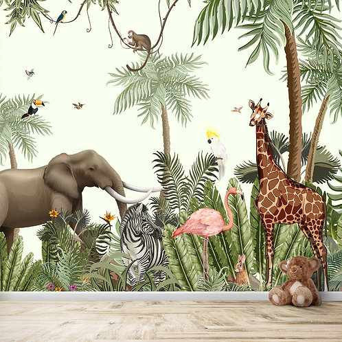 Jungle theme animals Wallpaper for kids room walls
