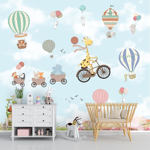 Flying Giraffe Cycle Train Wall Mural for kids Room