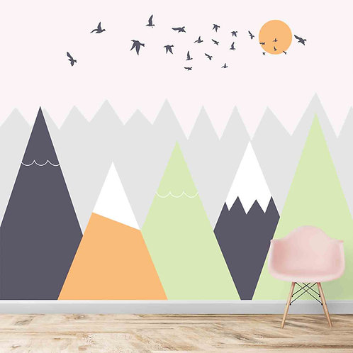 Mountains theme for kids room, yellow green, solid design