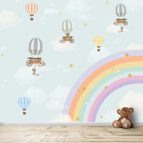 Animals on Hot Air Balloons with a rainbow and cloudy background theme for Kids