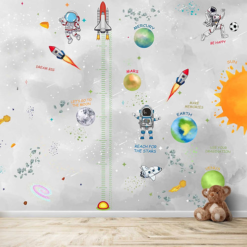 Space theme with height Measuring scale design for Kids room