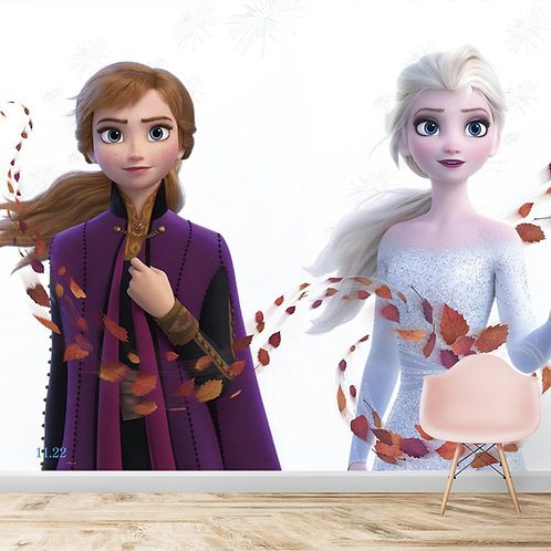 Elsa and Anna, Frozen movie wallpaper for kids room