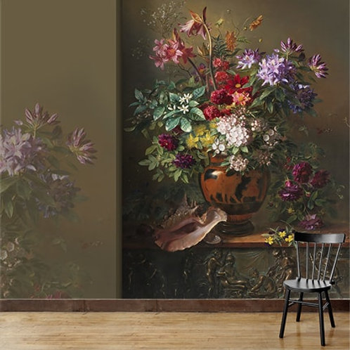 Greek flower vase painting,  wallpaper suitable to all rooms