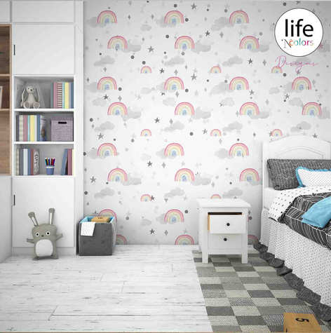 Subtle pink color wallpapers for babies rooms