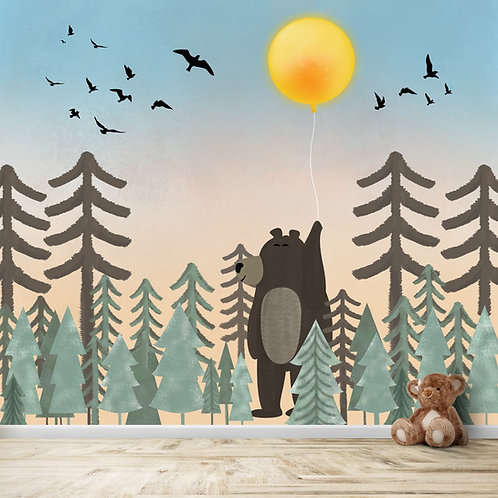 Jungle theme giant bear, bright sunny day, hand painted wallpaper for kids
