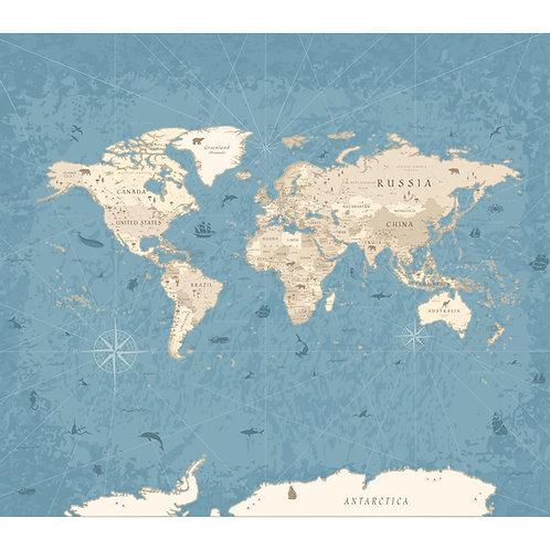 Blue Vintage World Map