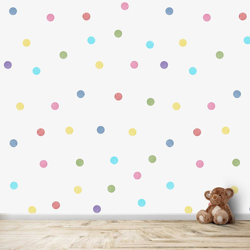 colourful water coloured polka dots for kids room