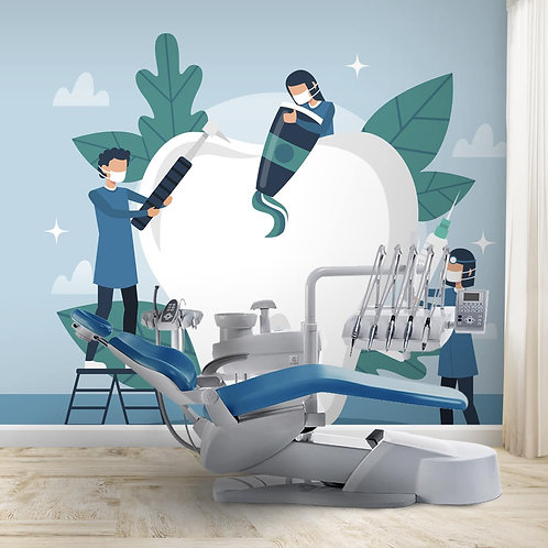Cleaning Tooth Wall Mural For Dental Clinics