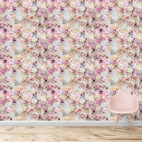 Repeat pattern of pink roses, premium realistic wallpaper