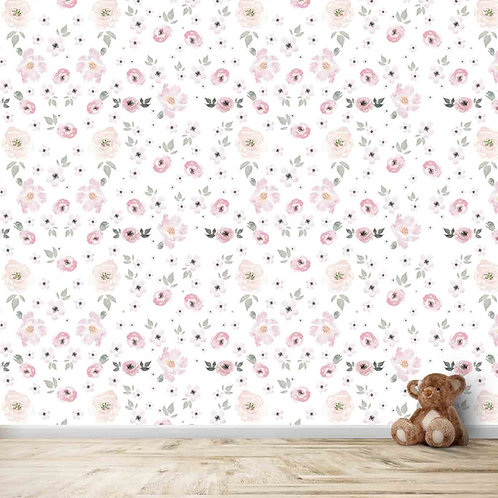 Water Painted Floral Design For Kids Room
