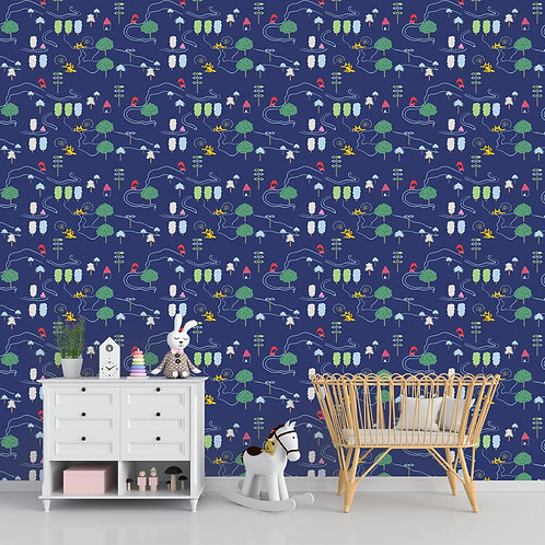 Cute forest road repeat pattern wallpaper for kids room