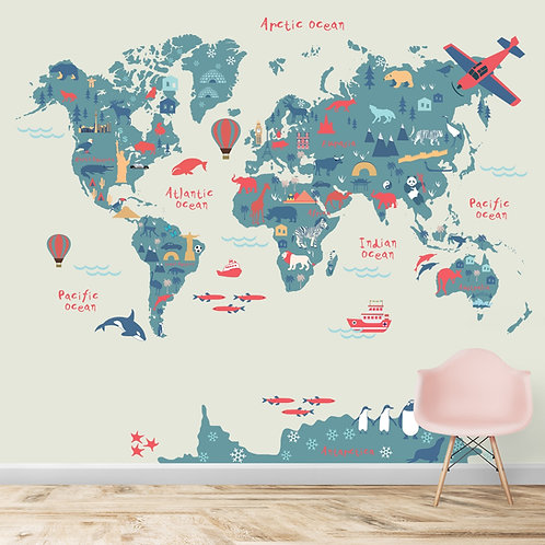 Silhouette Map designs for kids room
