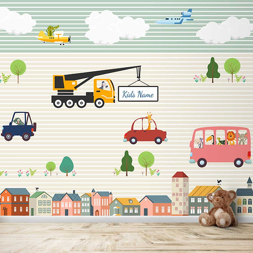 Animals Driving cars and planes Personalise Theme for Kids Room