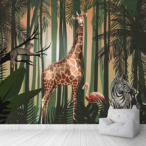 Jungle theme customised wall mural for children room