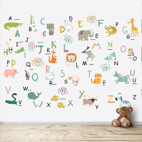 Alphabets and animals educational wallpaper