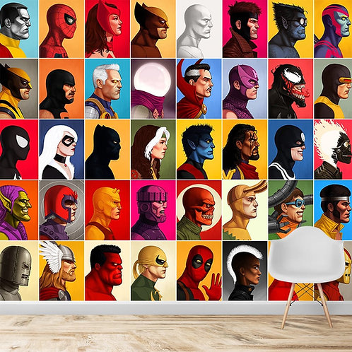 Superheroes, wall mural for kids room