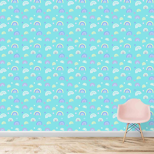 Small multiple rainbows motifs for kids room wallpapers