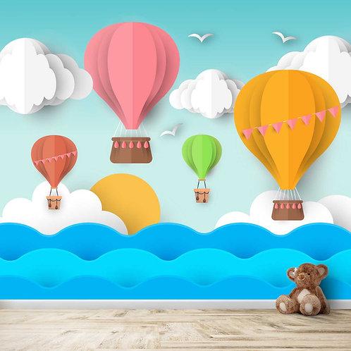 3D Kids Room Wallpaper Hot Air Balloon