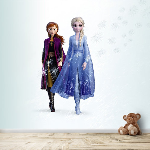 Cute Anna and Elsa Frozen movie wallpaper for kids room
