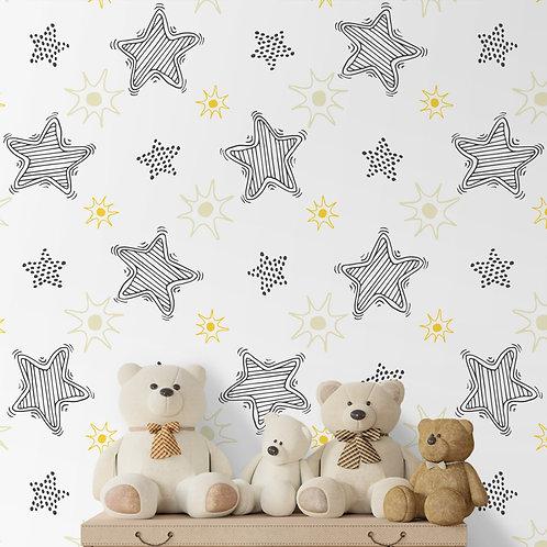 Stars Repeat Wallpaper for Kids, Customised Design