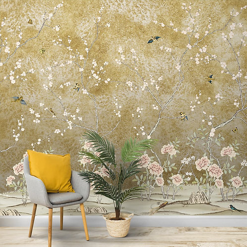 Chinoiserie Pattern Wallpaper, Customised Room Walls