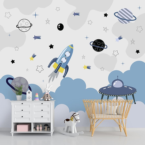 Blue and Grey Space Theme Children Wallpaper, Life N Colors
