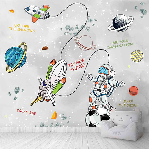 space Theme wallpapers for kids room, Planets, rockets, Astronaut with Quotes