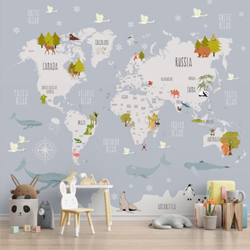 World map wallpaper with cute animals