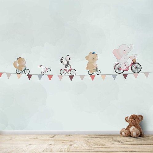 Hand Painted, Animals Cycling on rope theme for kids room