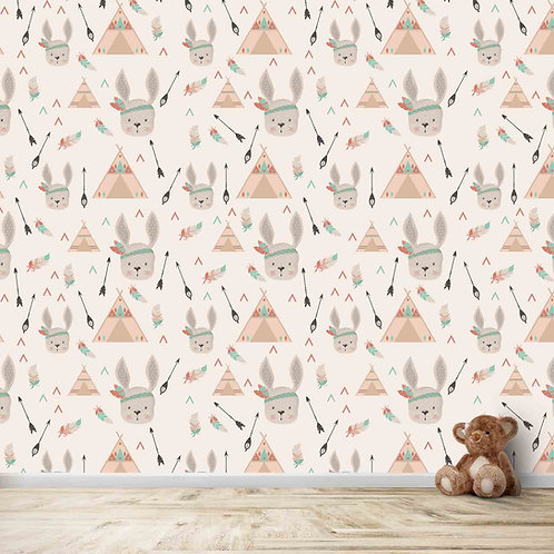 Bunny and Arrow tribal theme repeat pattern for kids room