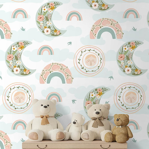 Rainbows and Moons Repeat Pattern, Customised Floral Kids Wallpaper