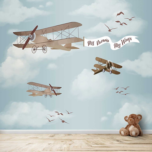 Gliders and Planes  themed wallpapers for kids room