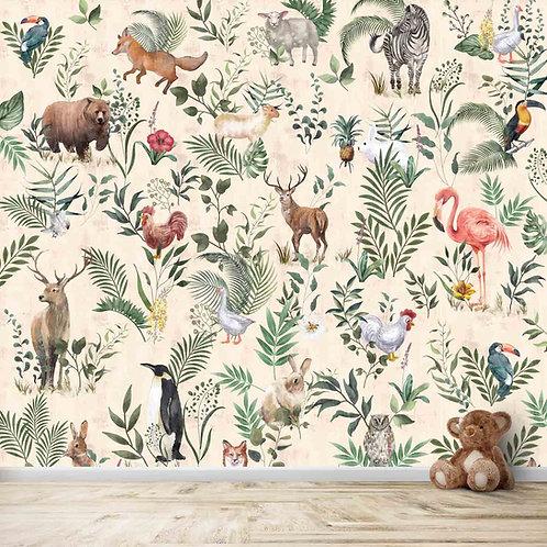 Jungle plants and animal design for kids room