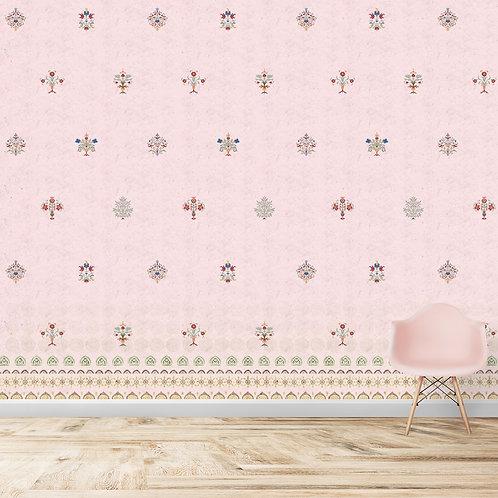 Pink Indian Motif Wallpaper