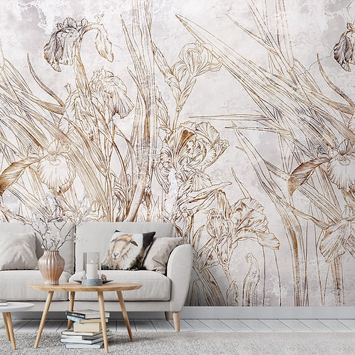 Abstract Floral Wallpaper Design, Customised, Beige