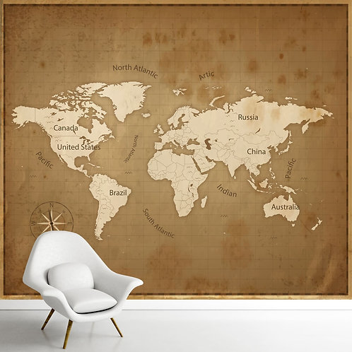 Vintage World map wallpaper for walls