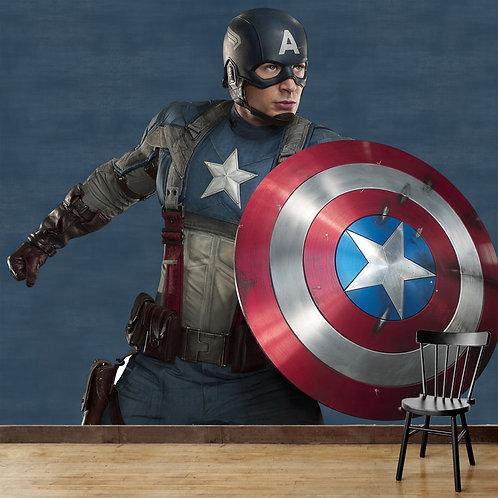 Captain America, superhero, textured background, wall mural for kids room
