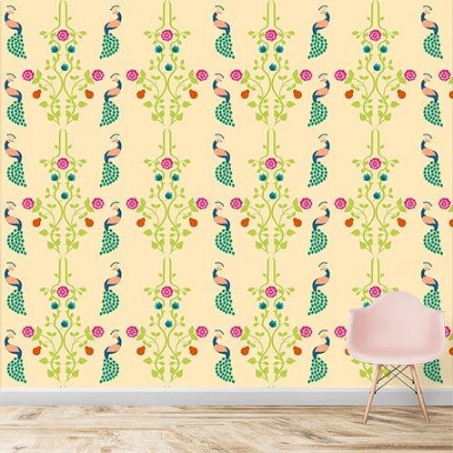 Beautiful peacock repeat pattern wallpaper