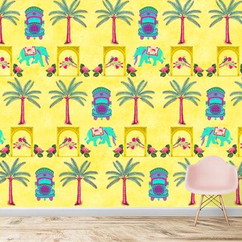 Classy Indian pop art yellow wallpaper