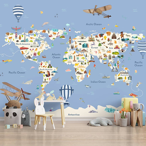 Kids World Map with Monuments