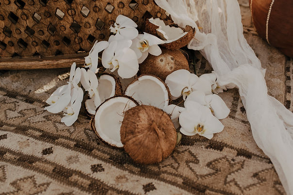 An elopement dinner table set up with flowers and coconuts during the boho elopment style shoot