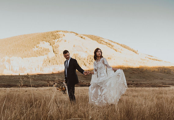 A bride and groom during an elopement in Colorado