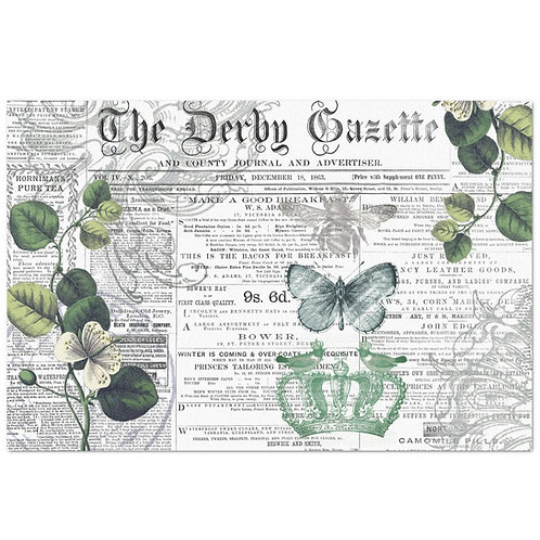 Antique Newsprint - Decoupage Tissue Paper