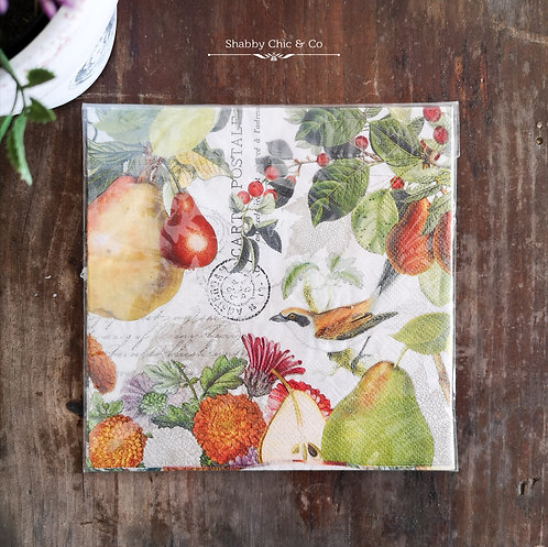Decoupage Paper Napkins (pkt of 2) - Birds and Pears