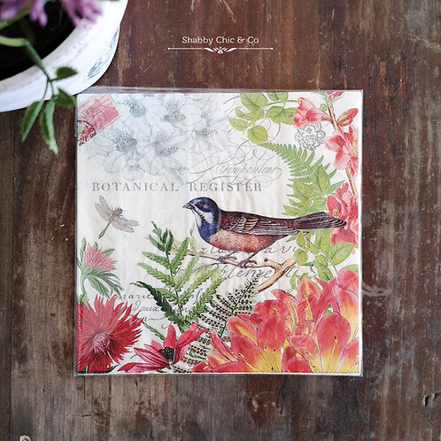 Decoupage Paper Napkins (pkt of 2) - Birds and Red Flowers