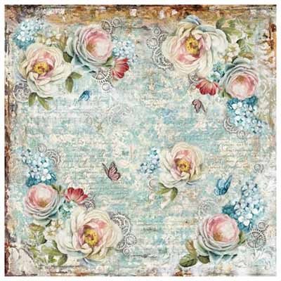 50 x 50 cm Rice Paper - White roses and gearwheels T320